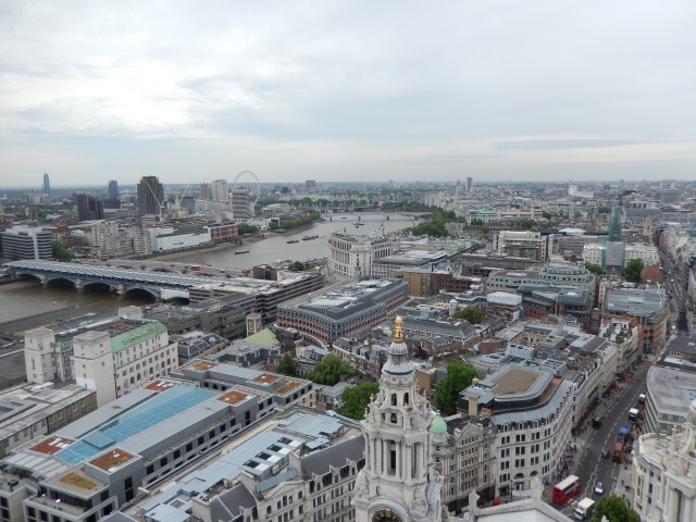"View from of London from the ""golden gallery"" at the top of St. Paul's Cathedral"